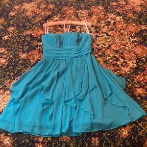 Sky blue strapless banquet dress